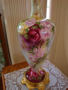 American Belleek Large Porcelain Hand Painted Vase Gorgeous ~ Roses~ from theverybest on Ruby Lane