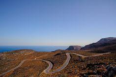 Curved road to Xerokambos, Crete