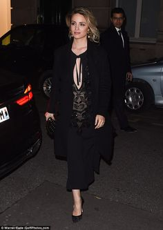 Dianna Agron stuns in plunging black gown while Olivia Palermo mixes fur with leather   Daily Mail Online