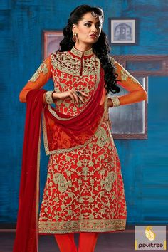 Pavitraa Red Straight Party Wear Salwar Kameez #designersalwarsuits #salwarsuits #longsalwarsuits #redsalwarsuits