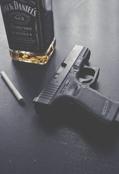 """Glock with Jack Daniels. Gun Aesthetic, Character Aesthetic, Cigarette Aesthetic, Alcohol Aesthetic, From Dusk Till Down, Saints Row, Whiskey, We Heart It, Smoke"