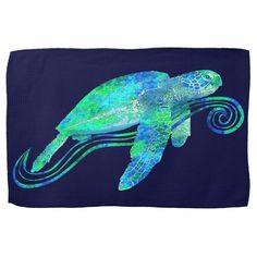 An endangered sea turtle painted in ocean blues and greens. Size: Kitchen Towel x Gender: unisex. Sea Turtle Painting, Sea Turtle Art, Sea Turtles, Parking Spot Painting, Turtle Table, Girls Room Paint, Dragon Fish, Sidewalk Chalk Art, Rock Painting Designs