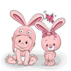 Cute Cartoon Baby in a bunny hat and pink bunny , Clipart Baby, Cute Clipart, So Cute Baby, Cute Babies, Cartoon Cartoon, 365 Kawaii, Cartoon Mignon, Blue Nose Friends, Bunny Hat