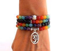 108 Mala Chakra bracelet or necklace. I have used to make this bracelet 6 mm Black Onyx, Lapis Lazuli, Amethyst, color enhanced Agate beads and