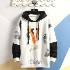 Fashion mens Patchwork Hoodies 2020 Autumn Loose Male Hooded Sweatshirts Men's Print Streetwear Sweatshirt Tops Stylish Hoodies, Cool Hoodies, Streetwear, Hoodie Outfit, Mens Sweatshirts, Mens Fashion, Burberry Men, Gucci Men, Korea Autumn