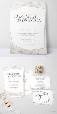 geometric marble wedding invitation