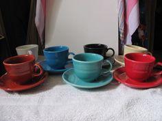 HOMER LAUGHLIN VINTAGE SET OF  FIESTAWARE  CUPS & SAUCERS SET OF 7 #HOMERLAUGHLINVINTAGESETOFFIESTAWARECUPS