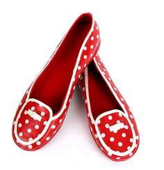 Tamara Henriques Red and White Polka Dot Ballerina Rain Slippers ... :)