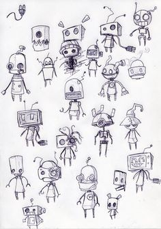 Robot Sketches - looks like the robots from Machinarium.