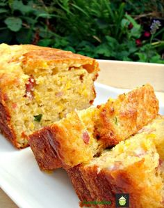 Cheesy Bacon, Corn & Pepper Bread.        The flavors are simply wonderful! This is delicious served warm from the oven or cooled. It has the texture of a cake, only the flavors are of course, savory. So delicious served with a nice bowl of soup!!