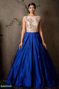 Shyamal & Bhumika A/W 2015 blue gown raw silk