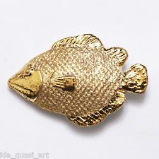 Ida Studio Limoges Porcelain Button Fish Raised Gold Matte Bright