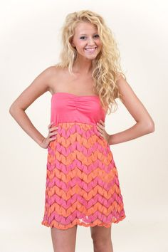 JUDITH MARCH: Bright There Dress-Coral