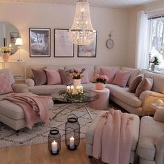Having small living room can be one of all your problem about decoration home. To solve that, you will create the illusion of a larger space and painting your small living room with bright colors c… Apartment Room, Home Living Room, Pink Living Room, Home Decor, Small Apartment Living Room, Apartment Decor, Room Decor, Living Room Decor Cozy, Home And Living