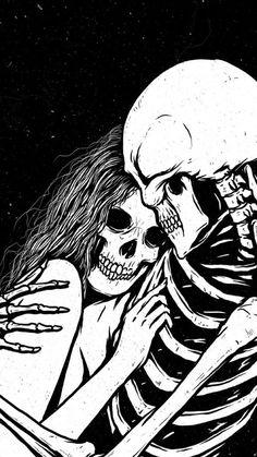 love, art, and skeleton image Gothic Wallpaper, Skull Wallpaper, Dark Fantasy, Fantasy Art, Art Amour, Sad Drawings, Gothic Drawings, Awesome Drawings, Skeleton Art
