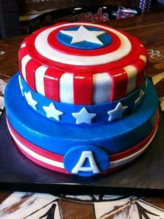 For lil man's birthday-Captain America Cake Captain America Birthday Cake, Captain America Party, Capt America, Pastel Capitan America, Avengers Birthday Cakes, Avenger Cake, Cupcakes Decorados, Superhero Cake, Cake Images