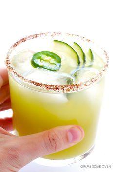 Spicy Cucumber Margaritas Recipe   gimmesomeoven.com