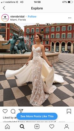 """Beautiful Embroidered Sleeveless Nude Sweetheart Sheath Wedding Dress / Bridal Gown with V-Neck Cut, Open Back Illusion, Detachable Skirt and with a Train. Collection """"Cote d'Azur Collection """" by Viero Bridal Western Wedding Dresses, Wedding Dress Train, Wedding Dress Chiffon, Princess Wedding Dresses, Bridal Dresses, Elegant Wedding Hair, Amazing Wedding Dress, Wedding Bride, Dream Wedding"""