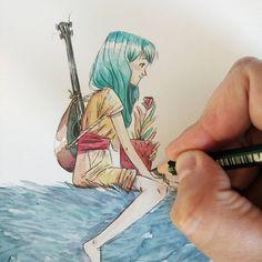 Art And Illustration, Fantastic Art, Ink Color, Watercolor And Ink, Book Art, Images, Artsy, Sketches, Kawaii