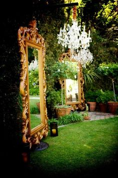 Adding mirrors to an outdoor garden will step your party up a notch.