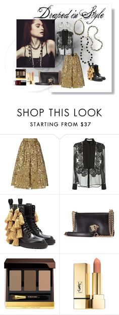 Draped in Style by hausoftopper132 on Polyvore featuring Givenchy, Prada, Burberry, Versace, Tom Ford, Chanel, NightOut and desktodinner