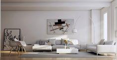 weiß und hellgrau im modernen Wohnzimmer
