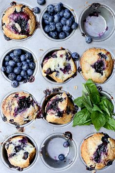 A recipe for blueberry muffins with fresh basil and a homemade blueberry-basil sauce. Brunch Recipes, Sweet Recipes, Breakfast Recipes, Dessert Recipes, Breakfast Cake, Muffin Recipes, Summer Recipes, Bread Recipes, Scones