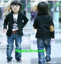 Jeans & black blazer for little boys