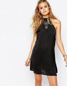 Band+Of+Gypsies+High+Neck+Satin+Shift+Dress+with+Lace+Insert
