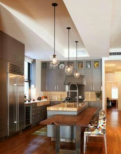 Wood and steel kitchen