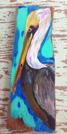 Louisiana Pelican on Reclaimed Wood on Etsy, $58.00