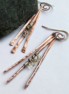 Copper dangles with wire & bead wraps