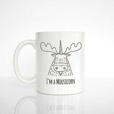 Moosicorn Coffee Mug Moose Unicorn Ceramic by HappyCatPrintables