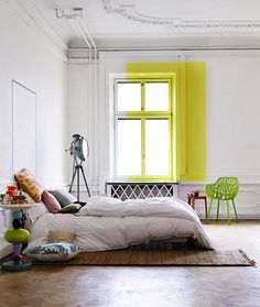 love this creative use of color...10 Bold Color-Blocked Bedrooms : Remodelista