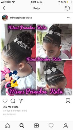 Peinados para cumple Quince Hairstyles, Braided Hairstyles, Cool Hairstyles, Wedding Hairstyles For Girls, Flower Girl Hairstyles, Girls Updo, Girls Braids, Little Girl Updo, Curly Hair Styles