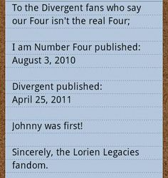 Whatever Divergent fans say, IANF was first.<<< don't get me wrong I LOVE Tobias/four, but John Smith/four was first for me :)