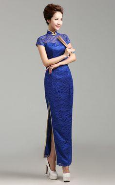 Cap-sleeve-mandarin-collar-high-slits-long-blue-cheongsam-wedding-dress-003.jpg (500×800)