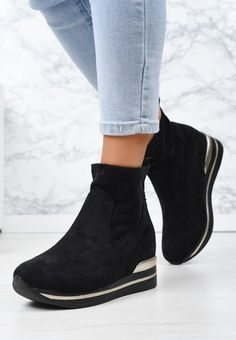 Sneakers cu platforma Mantia Negri Chelsea Boots, Booty, Ankle, Shoes, Fashion, Moda, Swag, Wall Plug, Zapatos