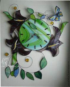 """Часы """" В росе"""" - часы настенные,часы интерьерные,авторские часы,витражные часы"""