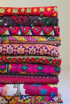 Woven Textiles from Turkey, Thailand and India. I could look at these all day. All the pretties!