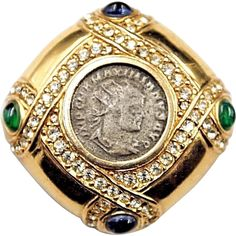 Rare CINER Gold Plated Rhinestone Cabochon Ancient Coin Brooch Pin