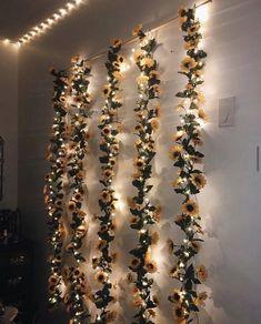 Flower Garland Wall Decor, Flower Garland Hanging, Sunflower Flower Wedding Flower Garland, Flower G Cute Bedroom Decor, Decoration Bedroom, Room Ideas Bedroom, Leaf Decoration, Decor Room, Bedroom Designs, Bed Room, Bedroom Wall, Master Bedroom