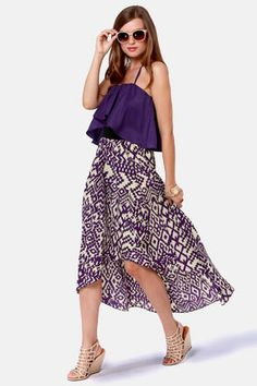 Geometric purple print high-low dress Get 7% Cash Back http://www.studentrate.com/itp/get-itp-student-deals/lulu-s-Student-Discount--/0