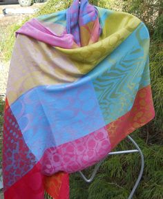 Pashmina shawl scarf sarong beach cover-up  prom cashmere silk orange yellow blue pink green hand wash large soft warm goats wool by Lambfeathers on Etsy