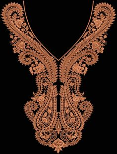Machine Embroidery Neckline Designs | Thread Embroidery Laces embroidered work Neck & Ghahra Choli design ...