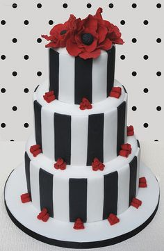 b&w stripes, red flowers are beautiful!