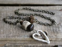 Old Heart  Ceramic Pendant. Long Necklace. by GillsHandmadeJewels, £14.00