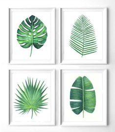 Set of 4 green leaves botanical print, Printable monstera leaf, banana leaf print, areca palm print, watercolor palm green leaves art print
