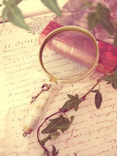 Magnifying glass, ivy, a letter, and a book....
