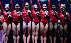 2015 - Women's team final at the 2015 World Artistic Gymnastics Championships at SSE Hydro Arena in Glasgow, Scotland. Team Usa Gymnastics, Gymnastics Posters, Artistic Gymnastics, Olympic Gymnastics, Gymnastics Girls, Cheerleading, Maggie Nichols, Madison Kocian, Laurie Hernandez